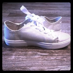 TOMS silver glitter shoes size 8